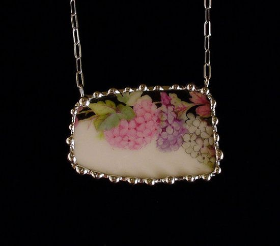 Broken china jewelry necklace vintage hydrangea chintz porcelain china made from a broken plate