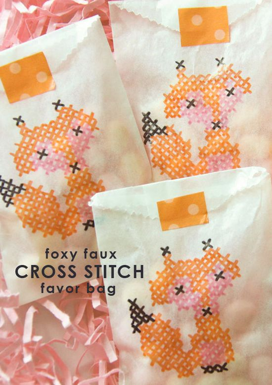 DIY : Foxy Faux Cross Stitch ... done with a cross stitch pattern and markers! love this