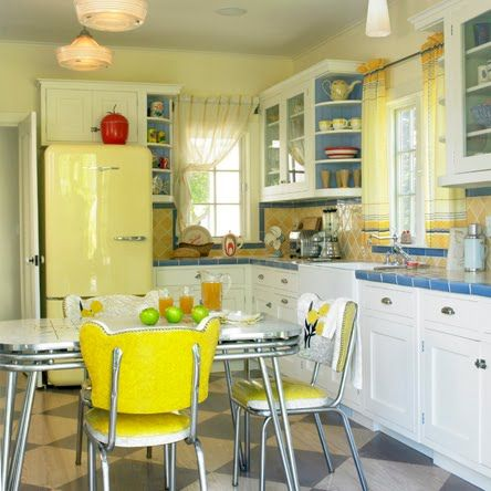 A cheerfully buttercup hued, vintage inspired kitchen. #kitchen #home #decor #vintage #retro #yellow