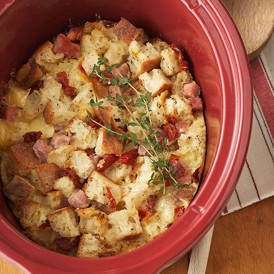 We love this Ham and Brie Bread Pudding! More slow cooker breakfast recipes: www.bhg.com/...