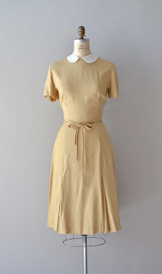 1950s Amical linen dress     #1950s #peterpancollar #whitecollar #vintagedress