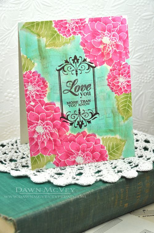 Watercolored Love You Card by Dawn McVey for Papertrey Ink (July 2013)