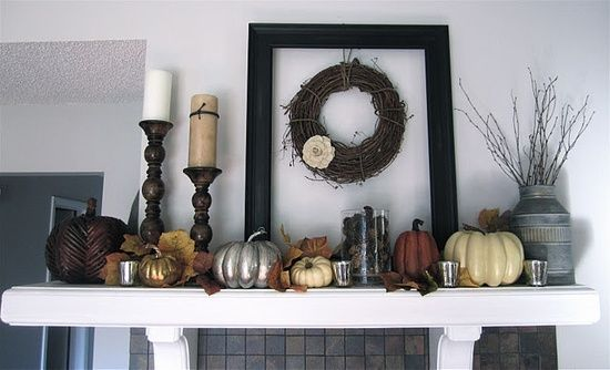 fall mantle. Could adapt this for my #interior design #home designs #living room design #luxury house design #home design ideas