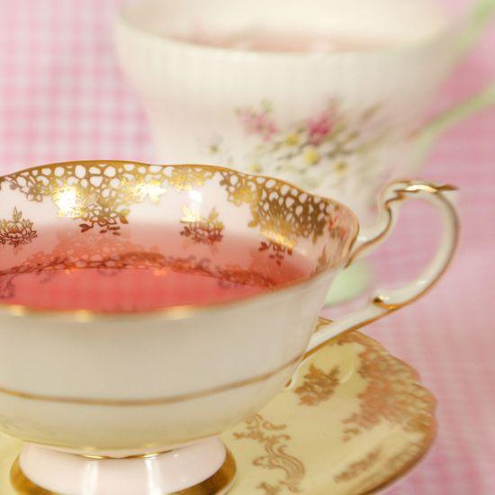 tea cup photo 8 x 8, Vintage tea cup photo, tea, pink, golden, romantic, nostalgic, shabby chic, cosy