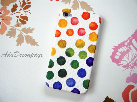Rainbow Dot  iPhone 4 Case  iPhone 4s Case  iPhone by AdaFashion, $14.90