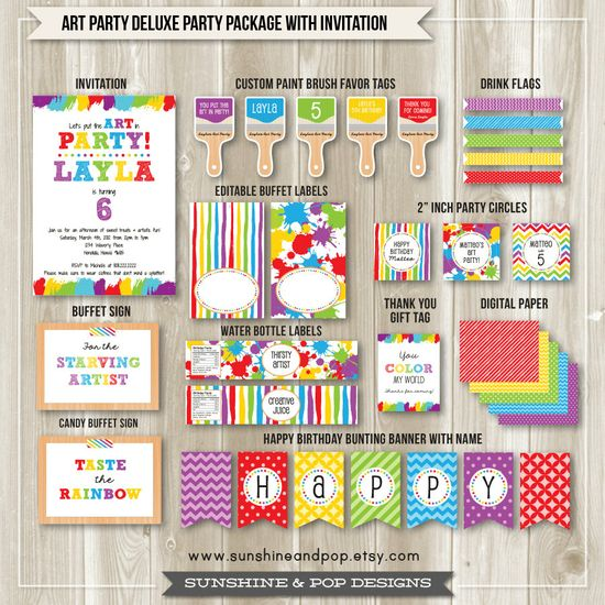 Art Party Rainbow Party Package - Digital Invite water bottle labels party circles favor tags and more -  DIY paint crafts colorful birthday