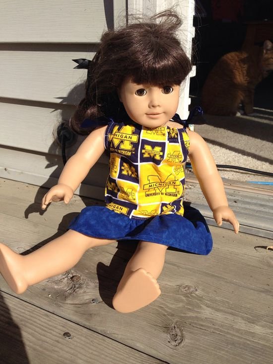 U of M pillowcase dress for American Girl Doll by SewSassyNSweet, $8.00
