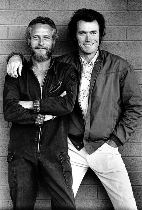 Paul Newman and Clint Eastwood (how thoughtful of Clint to scoot down so he's not towering over Paul)