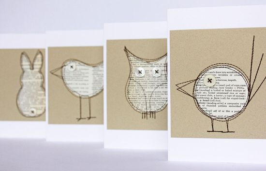 Set of four critter cards made from pages of an old dictionary.  SO CUTE!