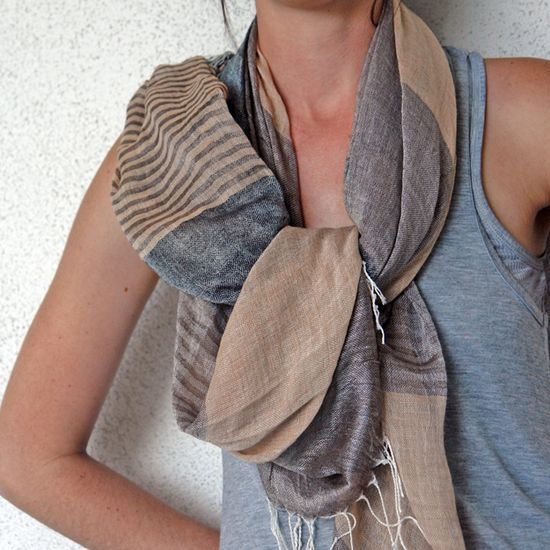 Linen Wide Lines Scarf  in Browns & Grays
