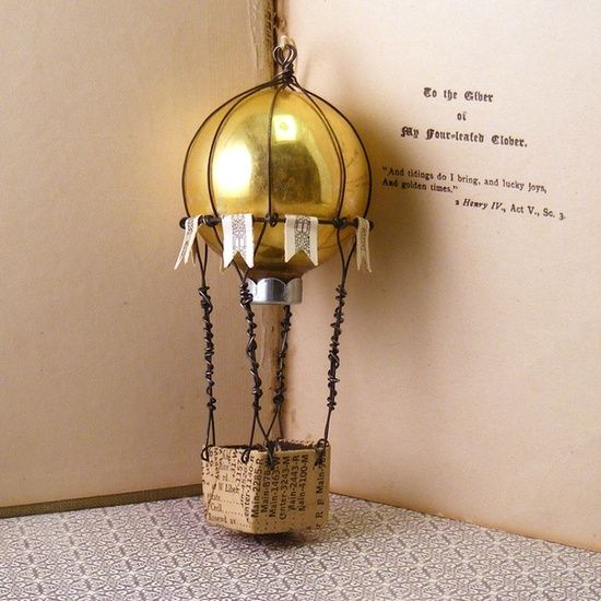 Hot air balloon from vintage ornaments, wire, handmade paper baskets and