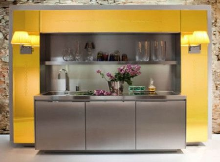 Yellow Colours Modern Small kitchen Interior Design Ideas - Kitchen