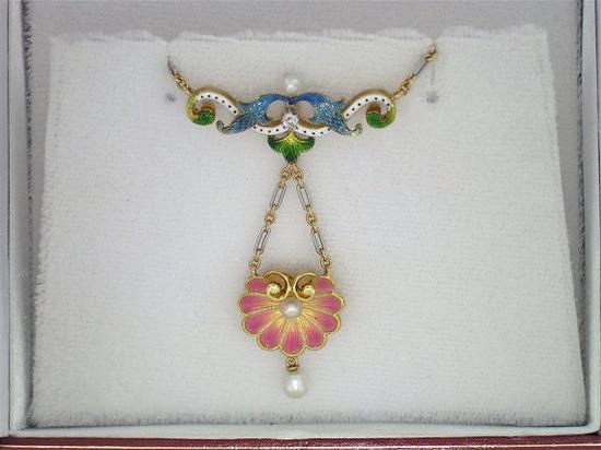 Art Nouveau Enamel, Diamond & Pearl Necklace