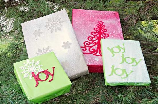 DIY Gift Wrap with Spray Paint