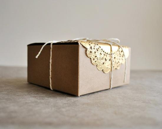 pretty metallic doilies as wrapping