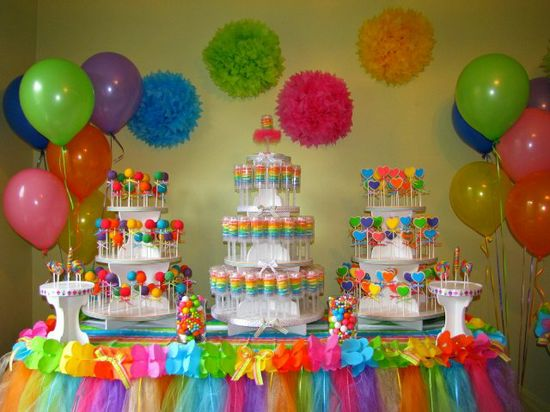 Rainbow themed party  Love the table tulle