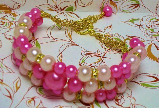 Pink Bracelet  Memory Wire Bracelet Pearl by AmhalchyJewelry,