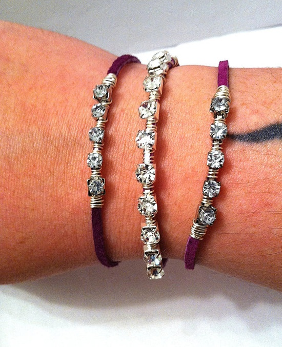 Wire wrapped rhinestone bling on purple leather by BeadingByJenn, $15.00