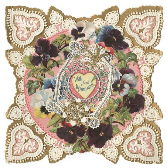 A gorgeous chromolithographed paper Valentine created between 1890 and 1900. #Victorian #vintage #Valentines #cards