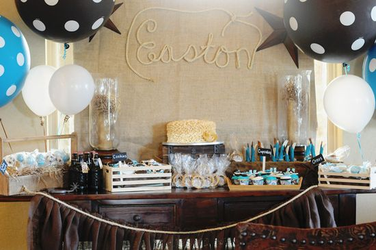 Cowboy baby shower dessert table