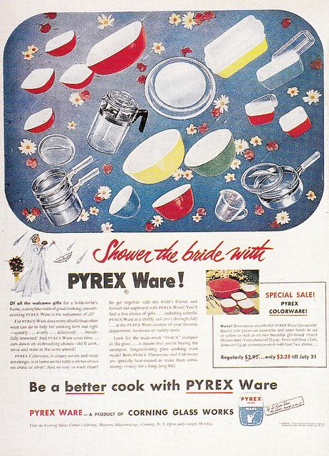 I'll stick with rice, thank you very much, and just wrap up my Pyrex for the bride! :) #vintage #1950s #ad #Pyrex