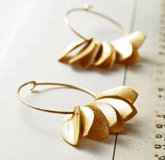 Gold Earrings Modern Jewelry by laurastark on Etsy, $60.00