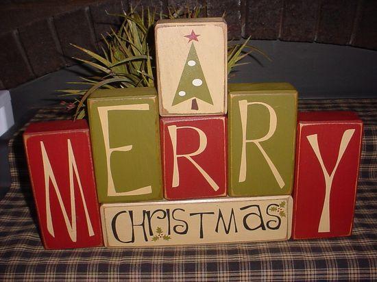 MERRY CHRISTMAS Santa Tree Wood Sign Shelf Blocks Primitive Country Rustic Holiday Seasonal Home Decor Gift. $42.95, via Etsy.