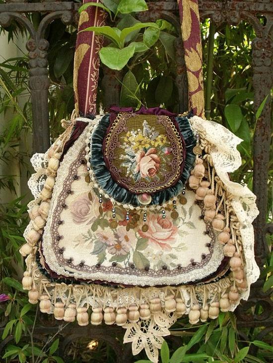 Needlepoint carpet bag
