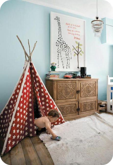 Wood bureau + red white teepee + Tiffany blue walls