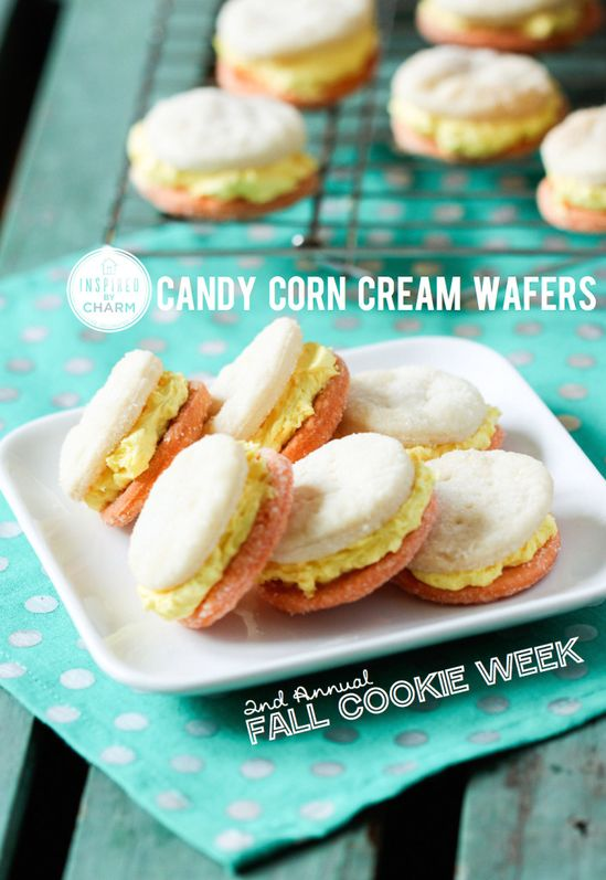Hands down my FAVORITE cookie ever. Candy Corn Cream Wafers