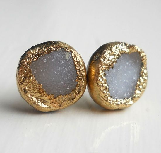 White gold dipped druzy stud earrings.