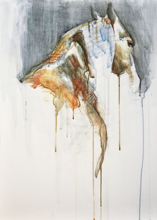 "One of the few paintings of animals I actually like,.... ;)   Saatchi Online Artist: Benedicte Gele; Watercolor, Painting ""Equine Nude 1a"""