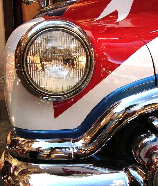 :) red white and blue car