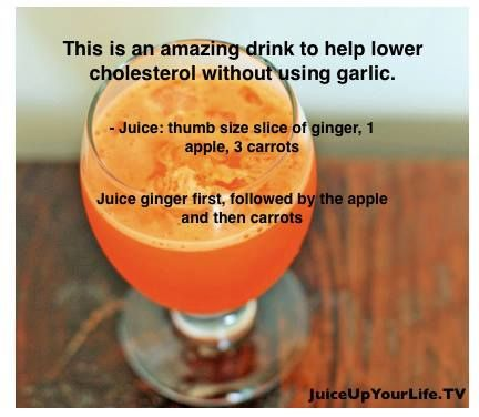 Lower Your Cholesterol Juice Recipe (: #ginger #apple #carrots