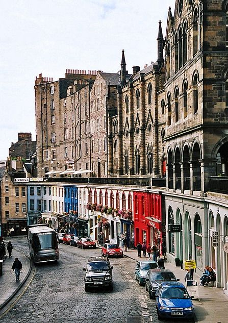Victoria Street, Edinburgh, Scotland. This street is colourful and gothic and this combination works, which is pretty amazing.