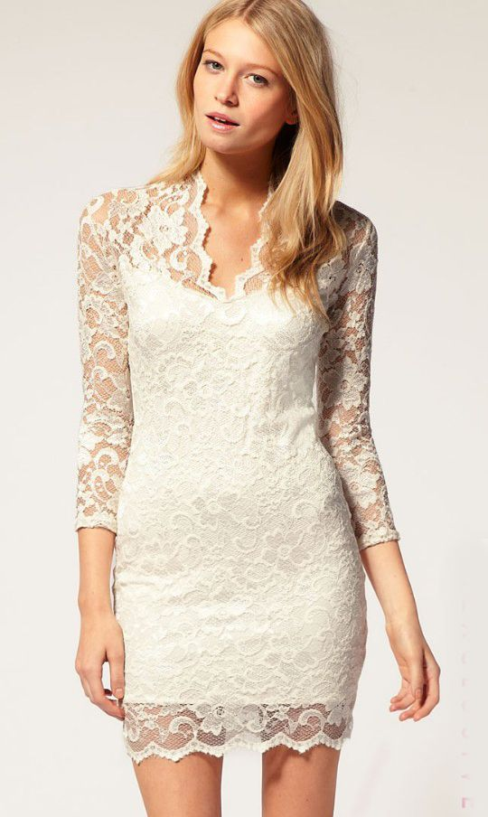 White Vintage Lace Fitted Dress US$29.90