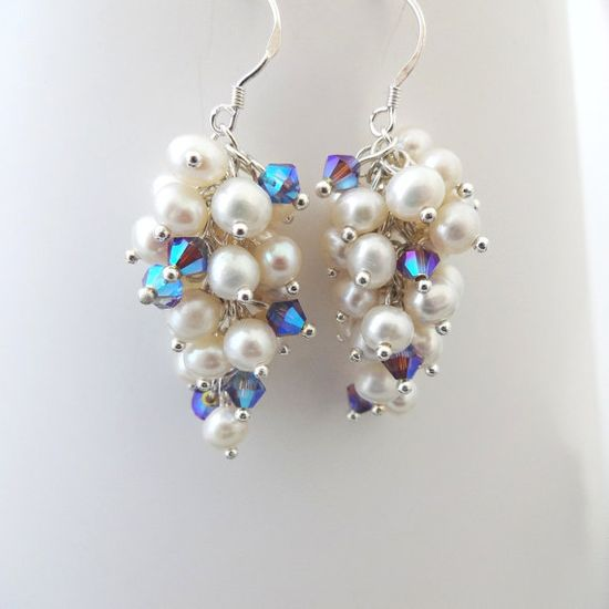 Earrings White Pearl Clusters Lilac Crystal by CalliopeAZCreations, $26.00