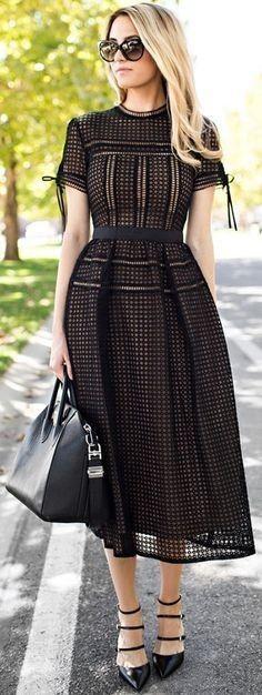 Eyelet midi dress.