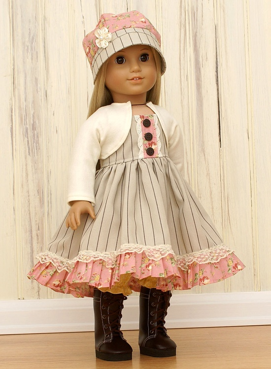 American Girl Doll Clothes-Pinstripe Dress with Bloomers Shrug and Hat