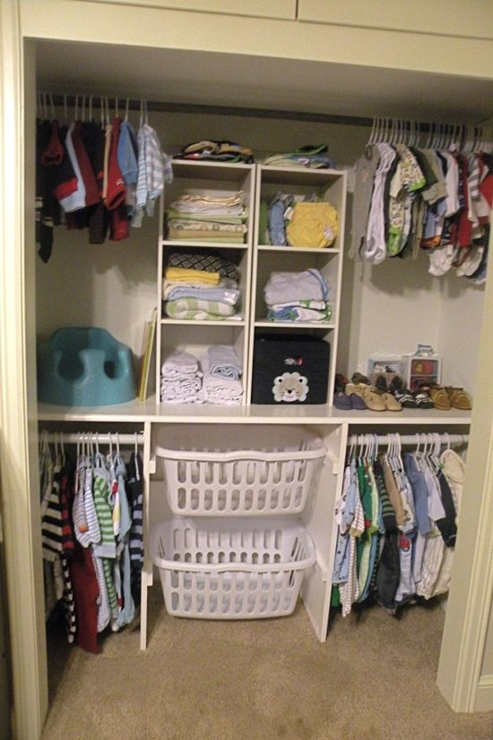 I would kill for a closet this organized!!! Laundry Basket in Closet. No need for hampers and can take it straight to the laundry.