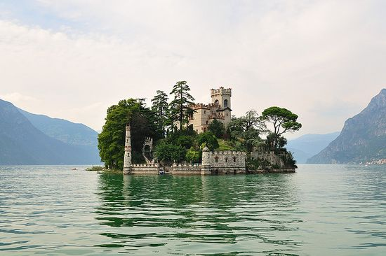 castle on a lake.