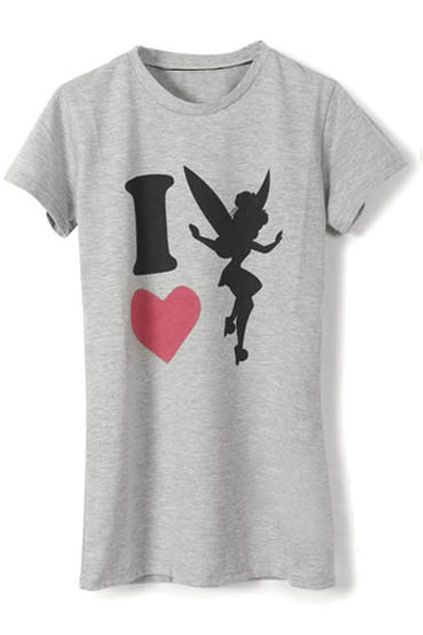 """I Love Fairy"" Grey T-shirt   $29.99  #romwe #fashion #T-shirt #top #clothes #summer"