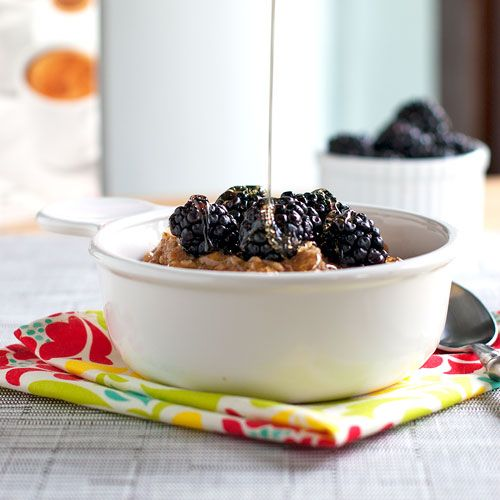 oats with blackberries, cream, and honey.