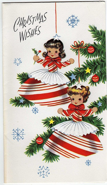 Vintage Christmas Card featuring Peppermint Girls