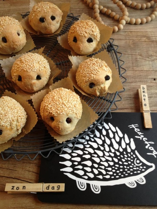 C U T E little hedgehog bread rolls—make healthy whole wheat ones to surprise the children for their school lunches!