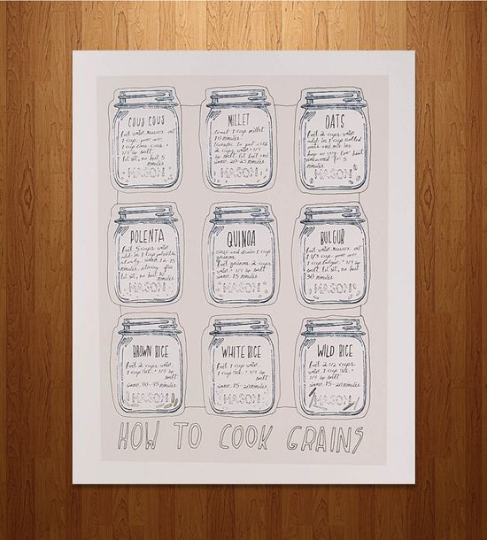 How to Cook Grains Kitchen Print