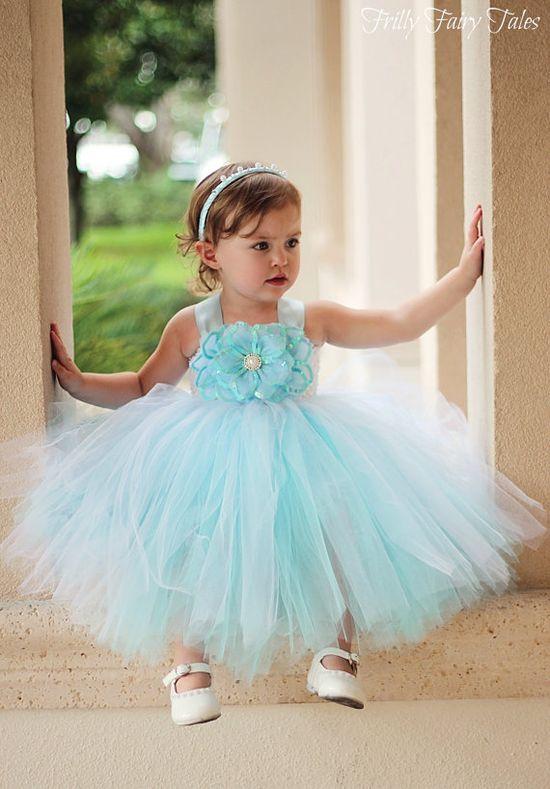 www.etsy.com, Blue Flower Girl Dress. $85.00, via Etsy.