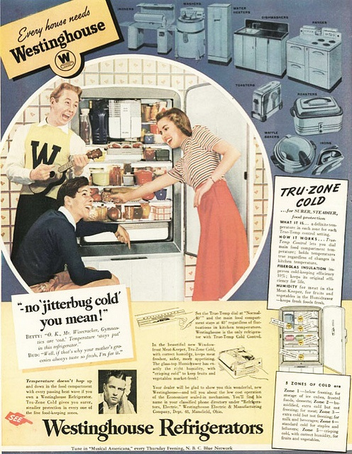 Every house needs a Westinghouse...and apparently a group of really enthusiastic teenagers, too! :) #vintage #fridge #ad #1940s #kitchen