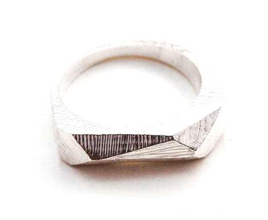 Silver Faceted Bar Ring.