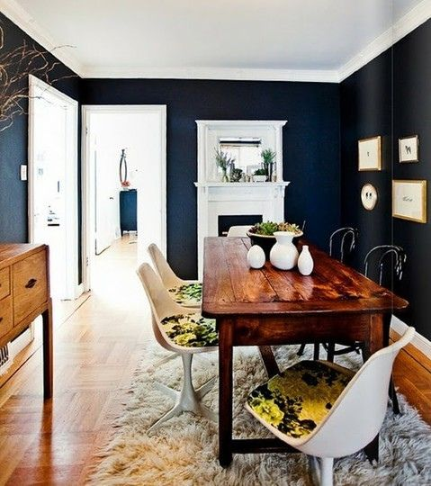 love these navy walls... Not a fan of the chairs however... Victoria Smith / Rue {rustic scandinavian vintage modern dining room with black walls} by recent settlers, via Flickr